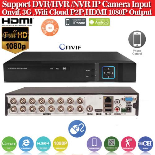 AHD6316/ Tribrid DVR/HVR/NVR cu 16 canale 1080P (1920x1080)  compatibil cu camerele AHD de 1 Mpixel, 1,3 Mpixeli și 2 Mpixeli, camere analogice (960H) și camere cu IP până la 5Mp