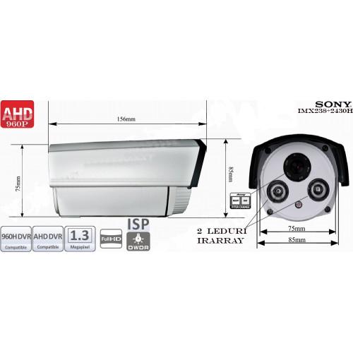 AHD130-ER2/ Cameră de supraveghere AHD de interior/exterior cu vedere de noapte până la 20 m și lentilă fixă de 6 mm
