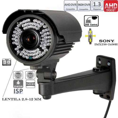 EAHD130-T121IR72/ Cameră de supraveghere AHD cu vedere de noapte până la 25-30 m și lentilă reglabilă între 2,8-12 mm