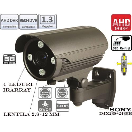 EAHD130-T138ER4/ Cameră de supraveghere AHD cu vedere de noapte până la 60 m și lentilă reglabilă între 2,8-12 mm