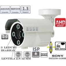 EAHD130-T199ER3/ Cameră de supraveghere AHD (960P) de exterior cu 3 leduri IR Array cu vedere foarte bună pe timp de noapte pentru distanțe de 40-45 m reali