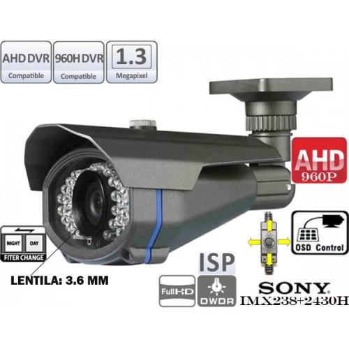 AHD130-T244IR36/ Cameră de supraveghere HD cu vedere de noapte până la 20 m, lentilă fixă de 3,6 mm și leduri IR invizibile pe timp de noapte