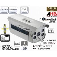 EAHD200-ER4/OSD Cameră de supraveghere full AHD (1080P) de exterior cu 4 leduri IR ARRAY pentru distanțe mari pe timp de noapte