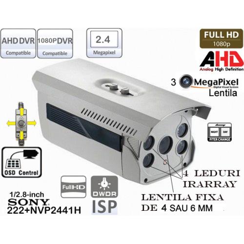 EAHD200-ER4/OSD/ Cameră de supraveghere full AHD (1080P) de exterior cu 4 leduri IR ARRAY pentru distanțe mari pe timp de noapte