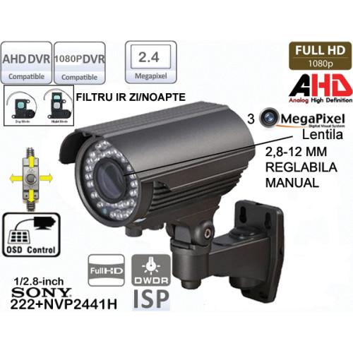 HD-A701/ Cameră de supraveghere full AHD (1080P) de exterior/interior cu lentilă reglabilă între 2,8-12 mm