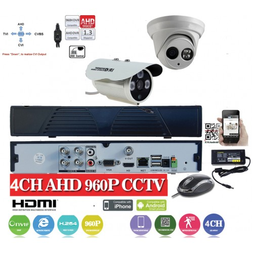 KIT12HD/ Kit de supraveghere 1xDVR cu 4 canale analog HD-L model AHD3004, 1xcameră analog HD 960P (1,3Mp) model UV-HDBM401 de interior/exterior, 1xcameră analog HD 960P (1,3Mp) model UV-HDBM302 de interior