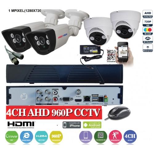 KIT13HD/ Kit de supraveghere 1xDVR cu 4 canale analog HD-L model AHD3004, 2xcamere analog HD 720P (1Mp) model UV-AHDBX607 de interior/exterior și 2xcamere analog HD 720P (1Mp) model UV-AHDDX314 de interior