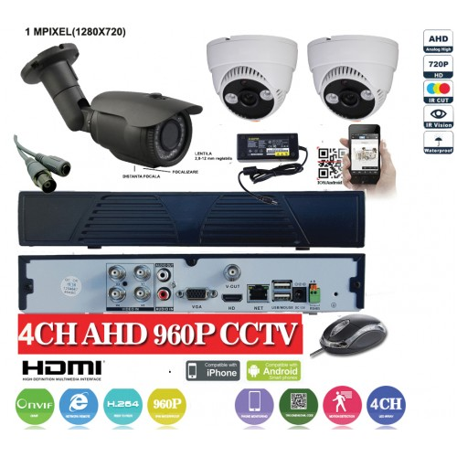 KIT18HD/ Kit de supraveghere 1xDVR cu 4 canale analog HD-L model AHD3004, 1xcameră analog HD 720P (1Mp) model UV-AHDBX708 de exterior cu lentilă reglabilă între 2,8 și 12 mm, 2xcamere analog HD 720P (1Mp) model UV-AHDDX314 de interior