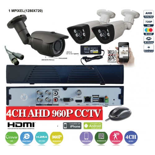 KIT19HD/ Kit de supraveghere 1xDVR cu 4 canale analog HD-L model AHD3004, 1xcameră analog HD 720P (1Mp) model UV-AHDBX708 de exterior cu lentilă reglabilă între 2,8 și 12 mm, 2xcamere analog HD 720P (1Mp) model UV-AHDBX607 de interior/exterior
