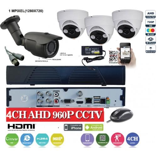 KIT21HD/ Kit de supraveghere 1xDVR cu 4 canale analog HD-L model AHD3004, 1xcameră analog HD 720P (1Mp) model UV-AHDBX708 de exterior cu lentilă reglabilă între 2,8 și 12 mm, 3xcamere analog HD 720P (1Mp) model UV-AHDDX314 de interior