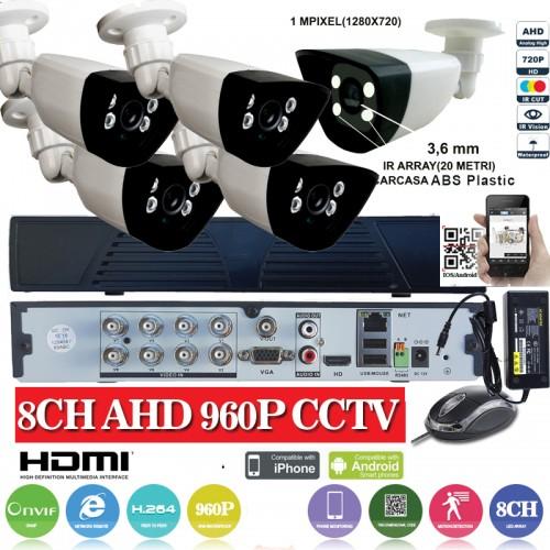 KIT22HD/ Kit de supraveghere 1xDVR 8 canale ANALOG HD-L model AHD3008  și 5xcamere Analog HD 720P (1MP)  model UV-AHDBX607 de interior/exterior