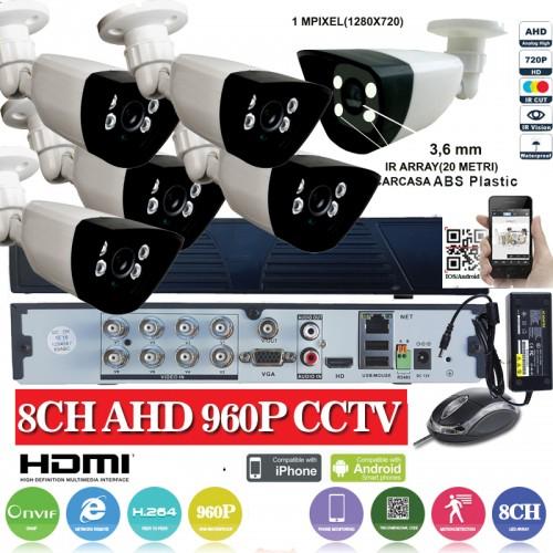 KIT23HD  1xDVR 8 canale ANALOG HD-L model AHD3008  si 6 X camere Analog HD 720P(1MP)  model UV-AHDBX607 de interior/exterior