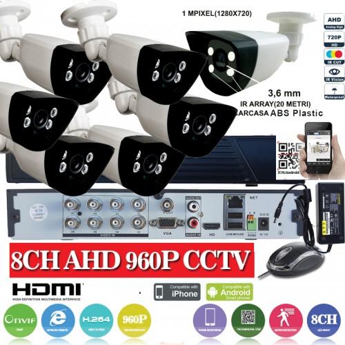 KIT24HD/  1xDVR 8 canale ANALOG HD-L model AHD3008  si 7 X camere Analog HD 720P(1MP)  model UV-AHDBX607 de interior/exterior