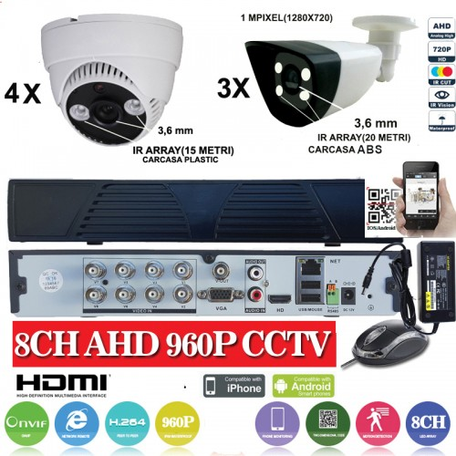 KIT27HD/ Kit de supraveghere 1xDVR 8 canale ANALOG HD-L model AHD3008, 3xcamere Analog HD 720P (1MP)  model UV-AHDBX607 de interior/exterior și 4xcamere Analog HD 720P(1MP)  model UV-AHDDX314 de interior