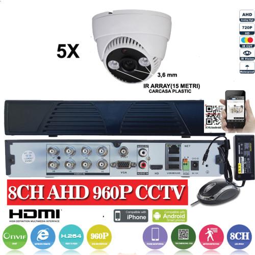 KIT31HD/  1xDVR 8 canale ANALOG HD-L model AHD3008  si 5 X camere Analog HD 720P(1MP)  model  UV-AHDDX314 de interior