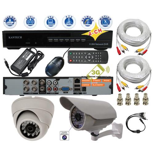 KIT-56/ Kit de supraveghere cu 2 camere de interior/exterior analogice la 700 TVL (cipset Sony-Effio) pentru distanțe mici