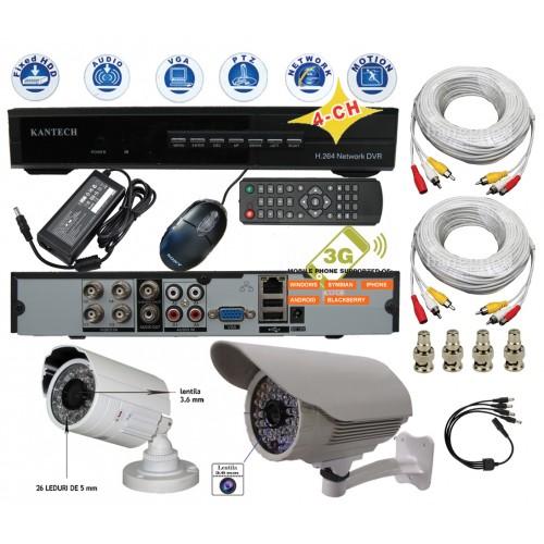 KIT-57/ Kit de supraveghere cu 2 camere de interior/exterior analogice la 480 TVL pentru distanțe scurte