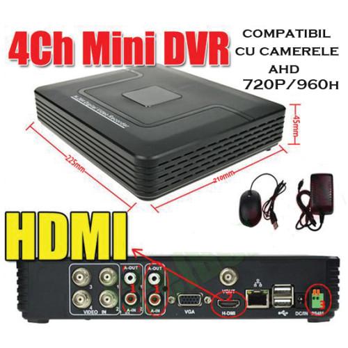MHK-1104HV/ Tribrid DVR/HVR/NVR cu 4 canale compatibil cu camerele AHD-M 720P și 960P (1 și 1,3 Mpixeli)