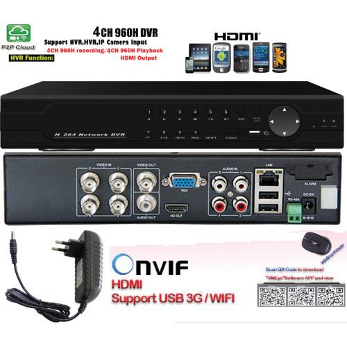 MHK-7704HAV/ Tribrid DVR/HVR/NVR cu 4 canale pentru camere de supraveghere analogice full D1 (960H)