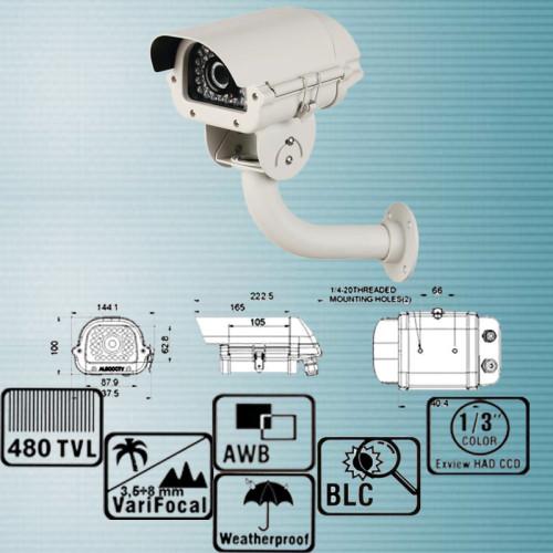 NK-210ACT048IR36/ Cameră de supraveghere de exterior cu lentilă reglabilă între 3,5-8 mm