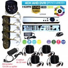 AHD-K301H  KIT SUPRAVEGHERE DVR+4 CAMERE DE INTERIOR/ EXTERIOR AHD LA 2 MPIXELI