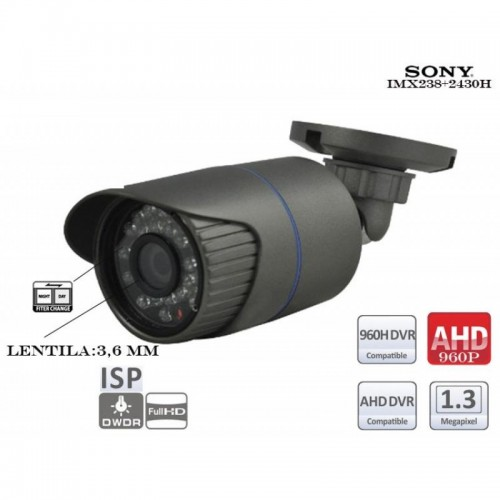 AHD130-IR24/ Cameră de supraveghere AHD (1,3 Mpixeli/960P) de interior/exterior cu vedere de noapte până la 10 m și lentilă fixă de 3,6 mm