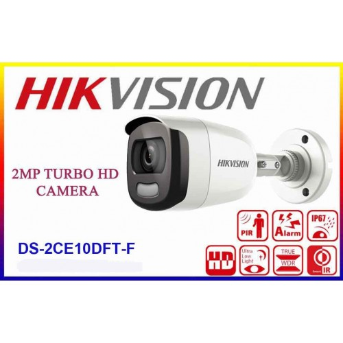 DS-2CE10DFT-F/ Cameră de supraveghere HIKVISION TurboHD 2 Mp, lentilă de 3,6 mm, ColorVU vizualizare color pe timp de noapte, IP67