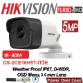 DS-2CE16H0T-IT3E 5MP /Camera supraveghere 4 in 1 Hikvision, 2.8mm, IR EXIR 2.0 40m, IP67 cu alimentare POC