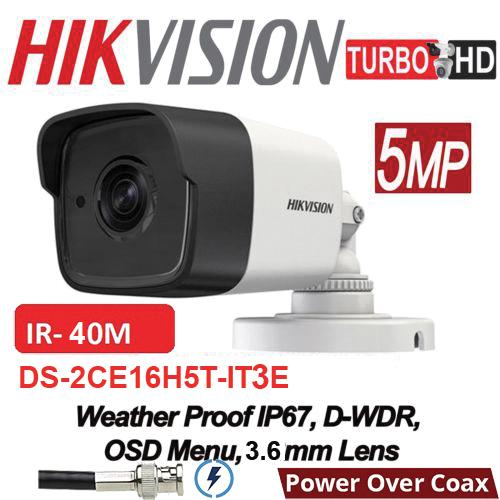 DS-2CE16H0T-IT3E 5MP/ Cameră de supraveghere 4 în 1 HIKVISION, lentilă de 2,8 mm, IR EXIR 2.0 40 m, IP67 cu alimentare POC