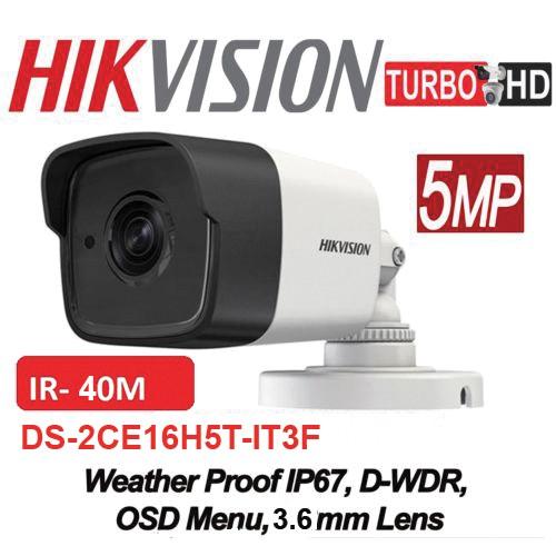 DS-2CE16H0T-IT3F 5MP/ Cameră de supraveghere 4 în 1 HIKVISION, lentilă de 2,8 mm, IR EXIR 2.0 40 m, IP67