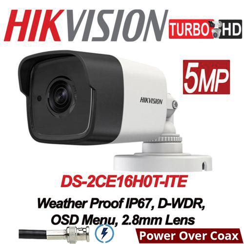 DS-2CE16H0T-ITE 5MP/ Cameră de supraveghere 4 în 1HIKVISION, lentilă de 2,8 mm, IR EXIR 2.0 20 m, IP67 cu alimentare POC