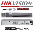 DS-7204HUHI-K1-P/ Dvr 4 canale, 5 Megapixeli, Hikvision cu 4 intrari video+audio, compresie H265+ cu alimentare POC pentru camere