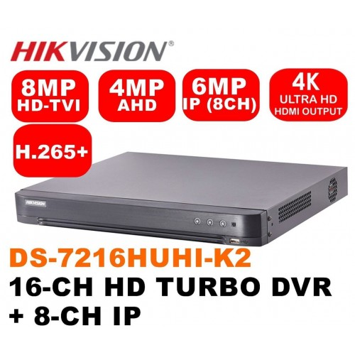 DS-7216HUHI-K2/ DVR HIKVISION cu 16 canale video 8 MP și 4 canale audio, H.265 Pro +