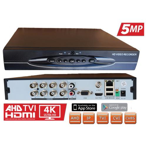 HVR-9108/ Tribrid DVR cu 8 canale, 5 MP (2592x1536), 4 MP AHD (2048x1536)/ANALOG 8x960H, 8xTVI 4MP