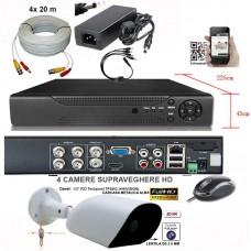 AHD-2004Z-KIT SUPRAVEGHERE DVR+4 CAMERE DE INTERIOR/ EXTERIOR AHD LA 2 MPIXELI