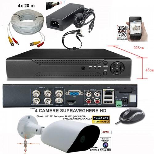AHD-2004Z-KIT/ Kit de supraveghere cu DVR și 4 camere de interior/exterior AHD la 2 Mpixeli