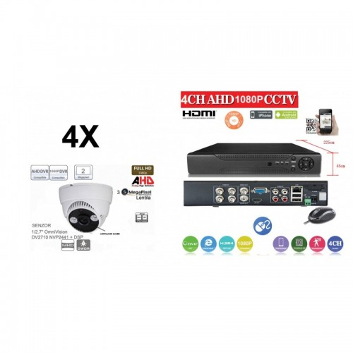 KIT43HD/ Kit de supraveghere 1xDVR 4 Canale ANALOG HD-L model AHD2004Z  și 4xcamere Analog HD 1080P (2 Mp) model UV-AHDDP314 de interior