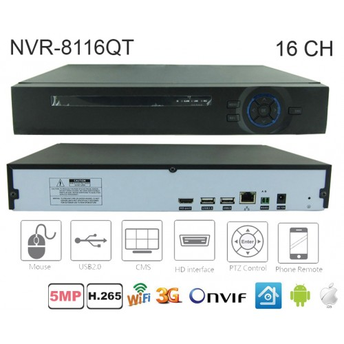NVR-8116Q/ NVR 16 canale H.265 pentru camere cu IP până la 5 Mpixeli