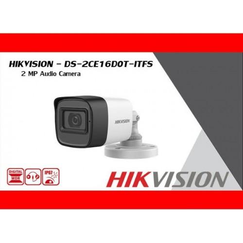 DS-2CE16D0T-ITFS 2MP/ Cameră de supraveghere cu audio HIKVISION, lentilă de 2,8 mm, IR 30 m, IP67(exterior/interior)