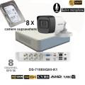 DS-2CE16D0T-ITFS-KIT8/ Kit Supraveghere cu audio full HD cu 8 Camere IR 30 Metri HIKVISION+ HDD 1 Tera