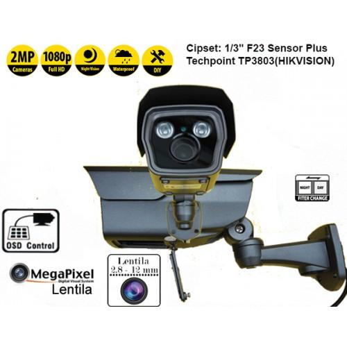UV-AHDBZ908/ Cameră de supraveghere Turbo HD Analog (2 Mpixeli) de exterior/interior pentru 40 metri pe timp de noapte, cu lentilă între 2,8-12 mm
