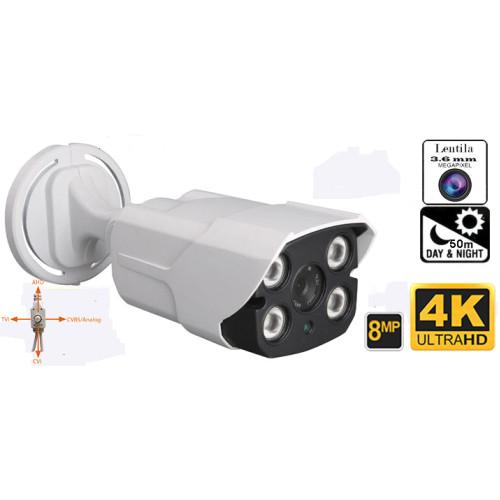 UV-HDBK909/ Cameră de supraveghere de exterior 4 în 1 AHD/TVI/CVI/CVBS (8 Mpixeli/4K) de exterior pentru 50-60 metri pe timp de noapte