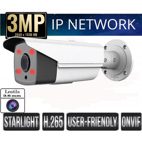 UV-IPBB525/ Cameră de supraveghere cu funcție internet H.265+ cipset Sony Super starlight pentru 40 m pe timp de noapte