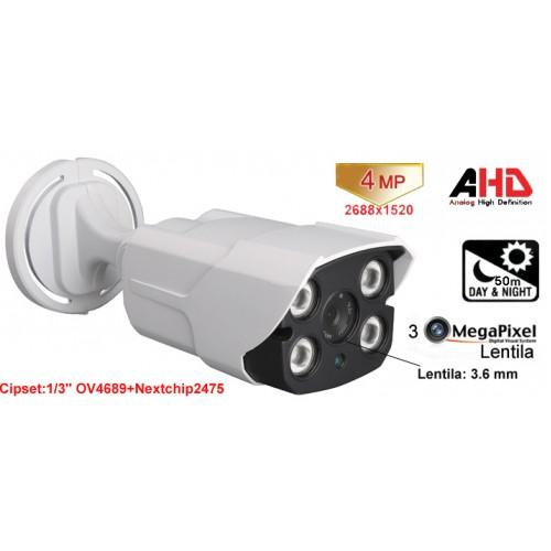 UV-AHDBU909/ Cameră de supraveghere AHD (4 Mpixeli) de exterior/interior pentru 50 metri pe timp de noapte și lentilă fixă de 3,6 mm
