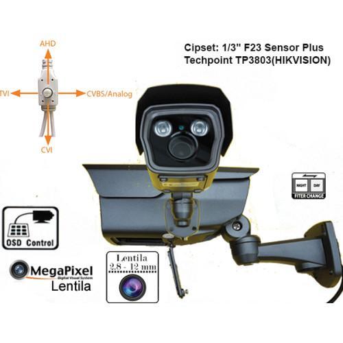 UV-HDBZ908/ Cameră de supraveghere 4 în 1 AHD/TVI/CVI/CVBS  (3 Mpixeli) de exterior pentru 25-30 metri pe timp de noapte și lentilă reglabilă între 2,8-12 mm