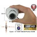 UV-HDDG430 Minicameră de supraveghere tip Dome 4 în 1 AHD/TVI/CVI/CVBS  (5 Mpixeli) de exterior/interior pentru 15 metri pe timp de noapte cu cipset SONY