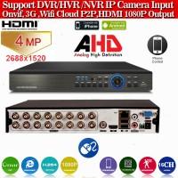 XVR4016L/ Pentabrid DVR cu 16 canale 4 Mpixeli (2688x1520), 3 Mpixeli AHD (2048x1536)/ IP 4x5 Mpixeli/ ANALOG 8x960H/ 8xTVI 1080P (lucrează cu camerele AHD de 3 și 4 Mpixeli)