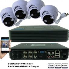 KIT1-HD/ Kit de supraveghere 1xDVR cu 4 canale AHD-L model MHK-1104HV  și 4xcamere AHD 720P (1Mp) model UV-AHDDX314 de interior