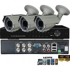 KIT8-HD/ 1xDVR 4 canale AHD-L- 3 X camere AHD 960P(1.3MP) de exterior cu lentila reglabila 2.8-12 mm