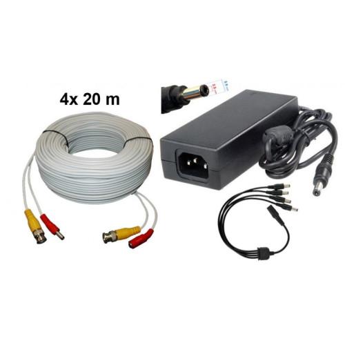 KIT-1/ Kit 4 cabluri 20 m și alimentator 13V/5A